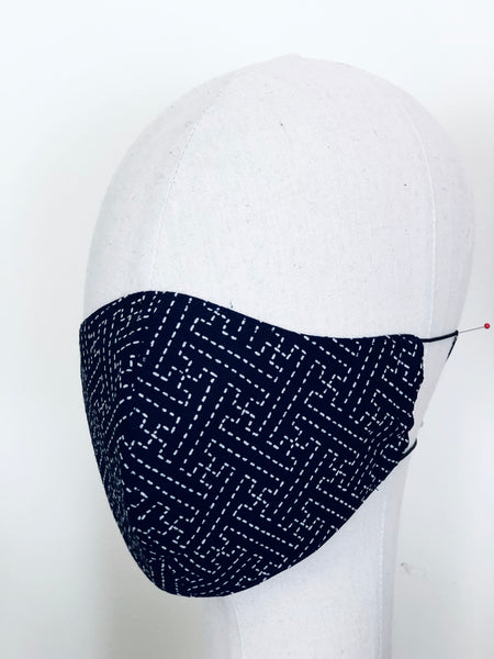 Limited Edition Japanese Sashiko Indigo White Cotton Face Cover Mask Filtered