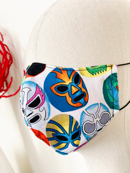 Mexican Lucha Libre Mask Print Cotton Filtered Face Mask