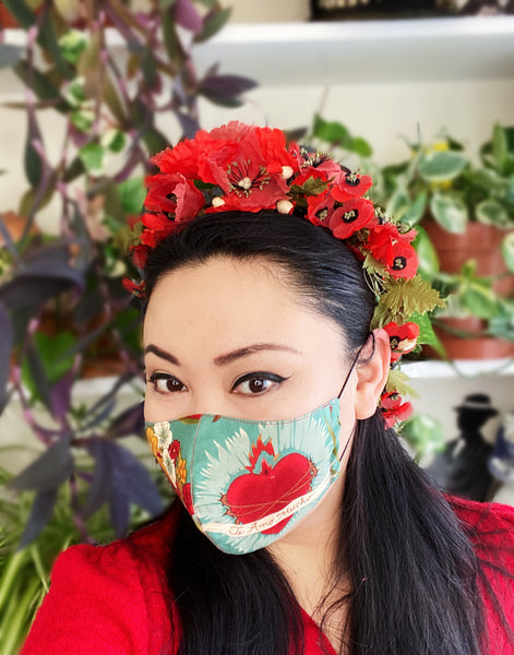 Limited Edition Frida Kahlo Sacred Heart Face Cover Mask B Filtered