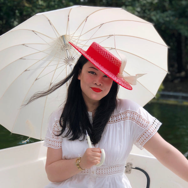 Marina Red White Boater Sunmer Straw Hat with Bow