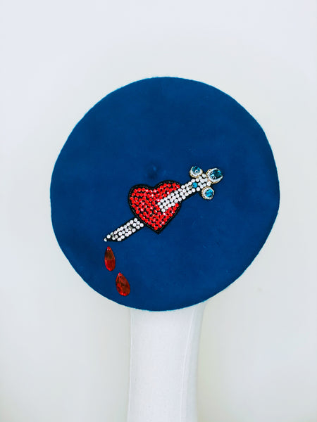 Red Heart & Dagger Beaded Teal Blue Wool Beret