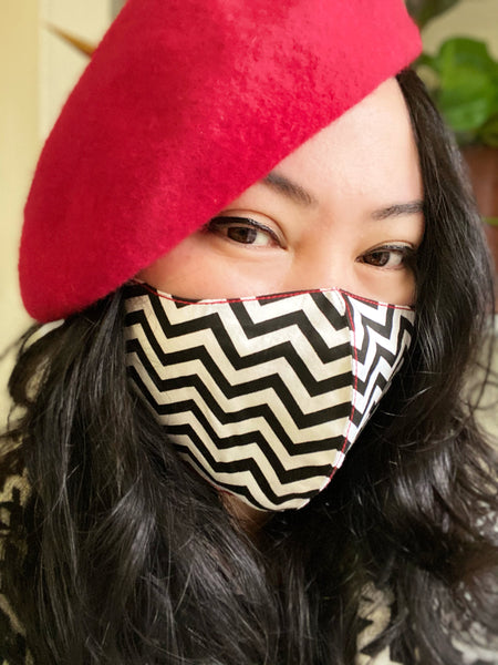 Zigzag Black White Cotton Face Mask Cover