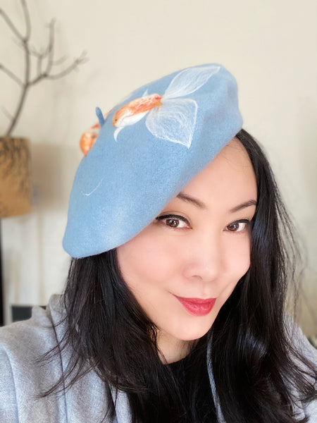 Koi Fish Pale Blue Wool Beret