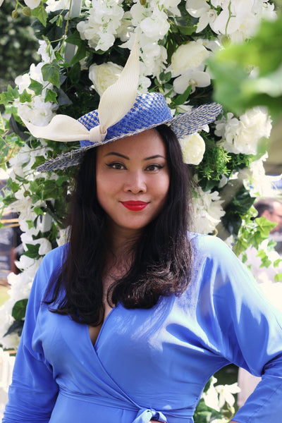 Marina Blue White Boater Sunmer Straw Hat with Bow