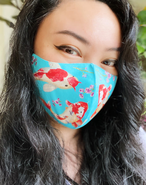 Turquoise Japanese Koi Fish Print Cotton Face Mask Filtered Cover