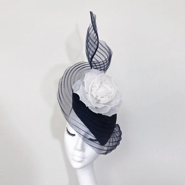 Sophie Navy White Silk Flower Veiled Hat