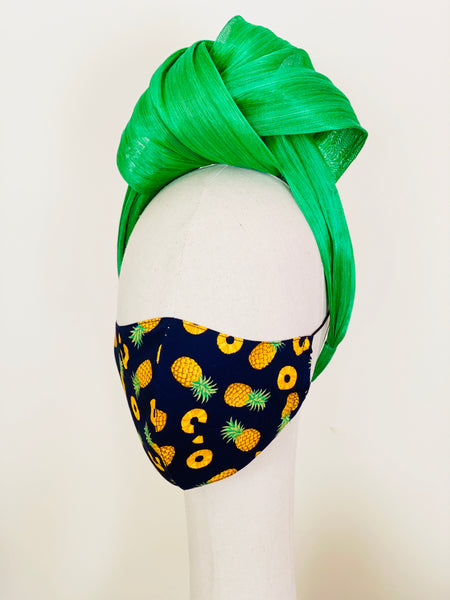 Juicy Pineapple Print Cotton Face Mask Filtered Cover Navy