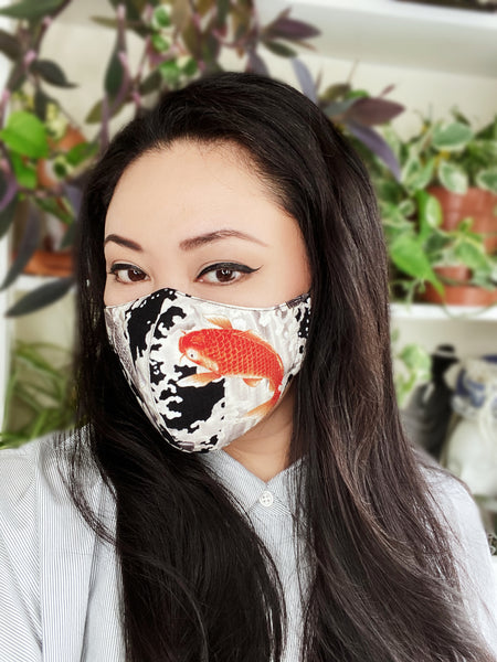 Limited Edition Japanese Koi Fish Print Cotton Face Mask Filtered Cover