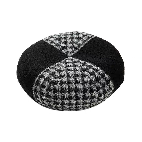 Black Grey Houndstooth Colour Blocking Wool Beret