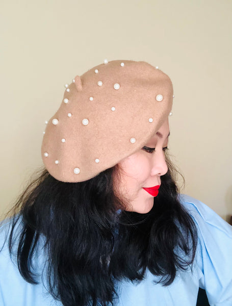 Off White Pearls Wool Beret