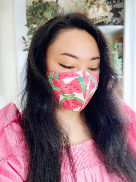 Pink Watermelon Summer Print Cotton Face Mask Filtered Cover