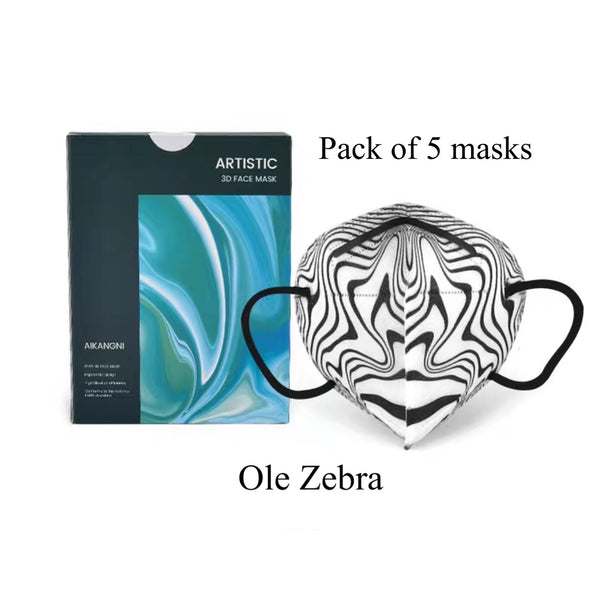 Pack of 5 Ole Zebra Abstract 3D Face Mask Limited Edition