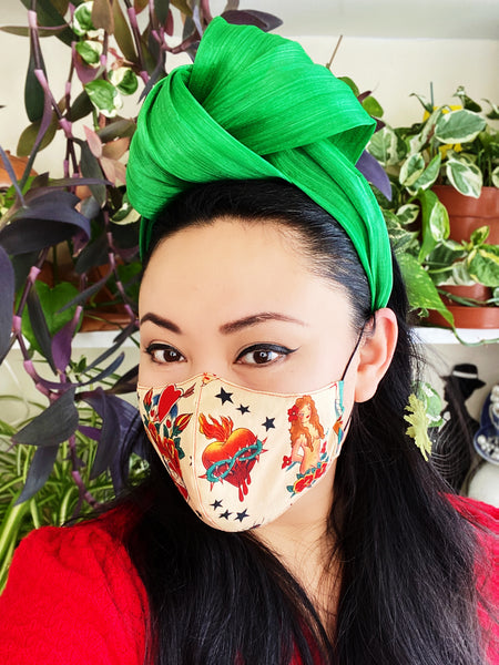Limited Edition Tattoo Sailor Jerry Print Cotton Summer Face Mask Filtered Cover