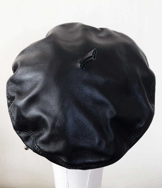 Eddie Black Leather Beret