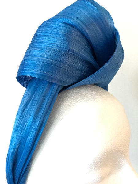 Sea Blue Silk Abaca Turban Headband