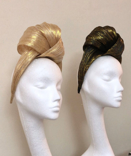 Star Of The Night Turban Gold Black Metallic Silk Abaca Headband