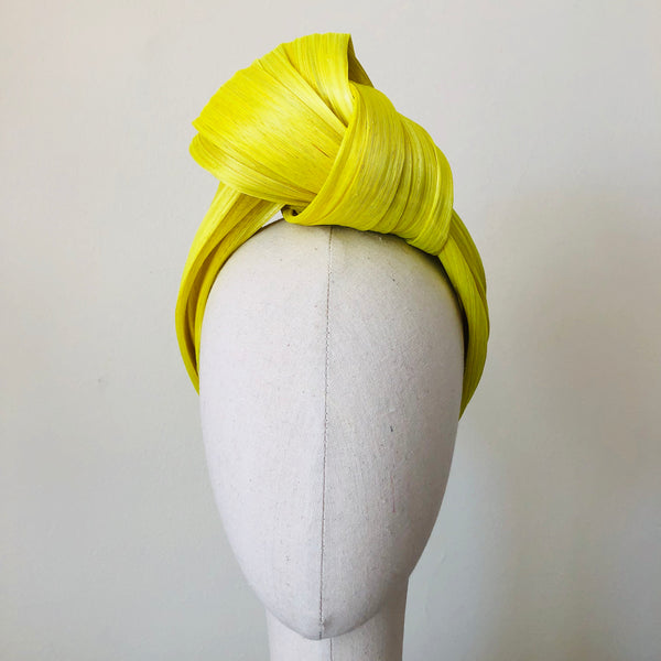 Lemon Yellow Silk Abaca Turban Headband
