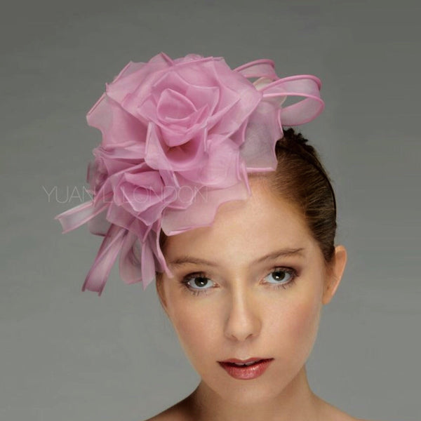 Lila Soft Pink Rose Flower Fascinator