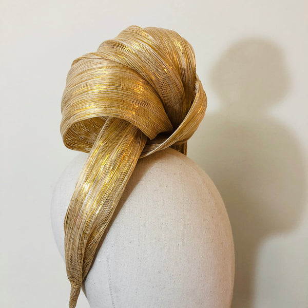 Goddess Turban Gold Ivory Metallic Silk Abaca Headband