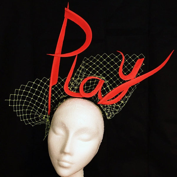 Play - Feather Made Slogan & Name Fascinator