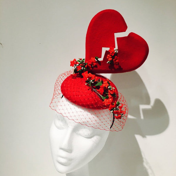 Forget-me-not Red Heart Fascinator