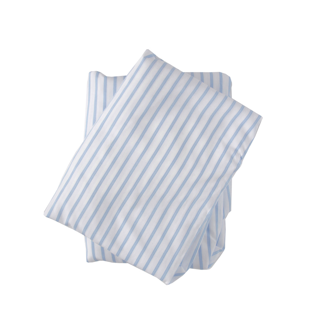 Crib Sheet in Blue and White Striped Cotton