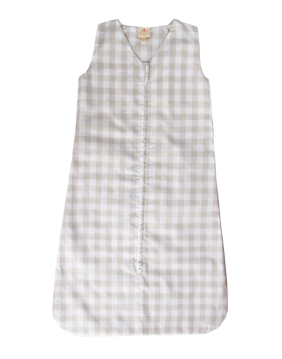 Sleep Sack in Beige Gingham Cotton
