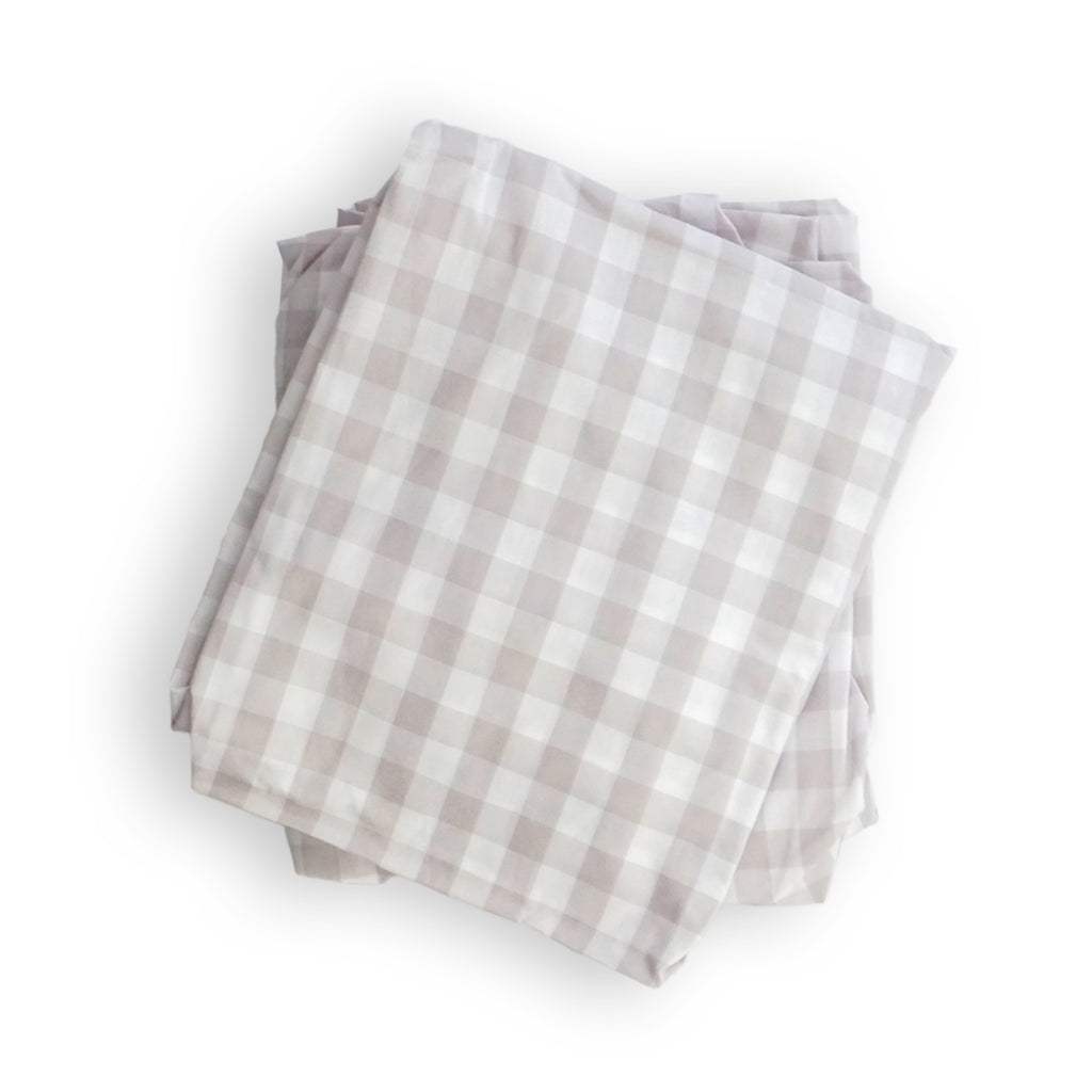 Crib Sheet in Beige Gingham Cotton