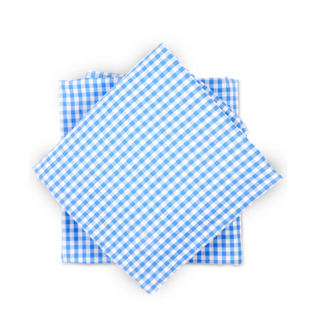 Crib Sheet in Bright Blue Gingham Cotton