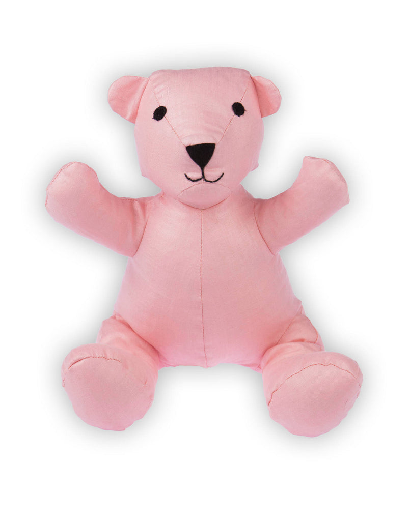 Teddy Bear in Bright Pink Linen