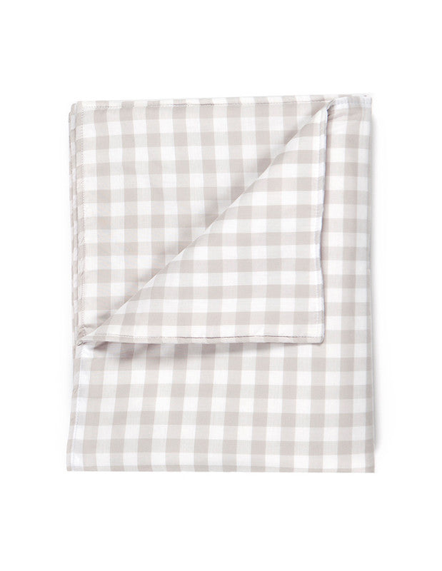 Large Blanket in Beige Gingham Cotton