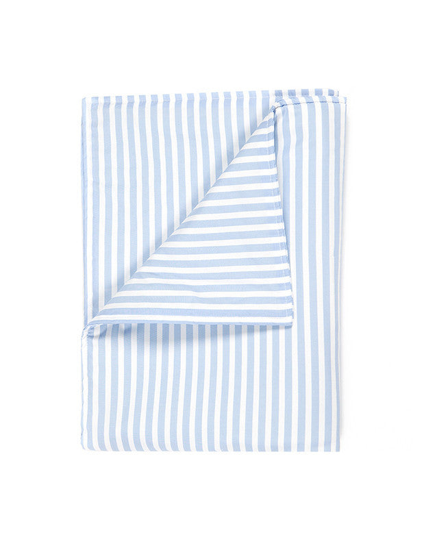Large Blanket in Blue and White Stripe Cotton