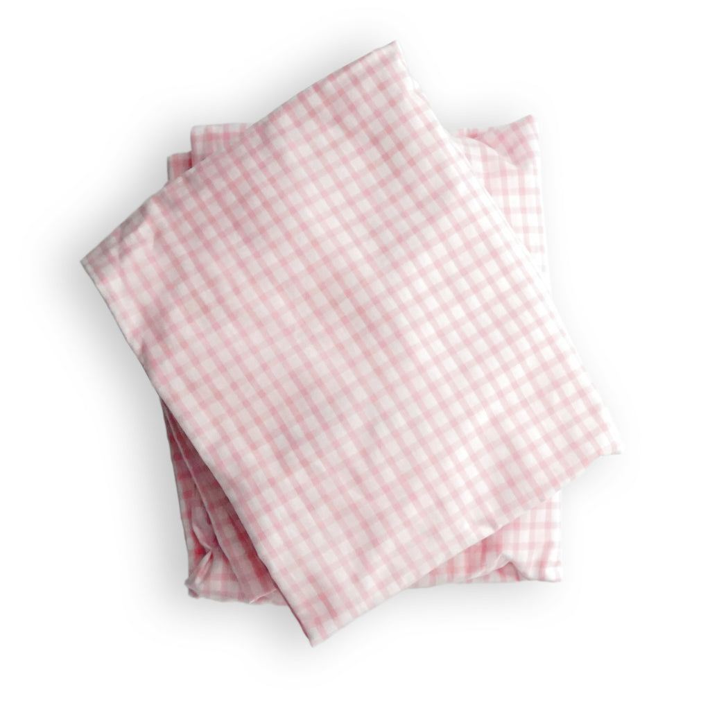 Crib Sheet in Pink Gingham Cotton