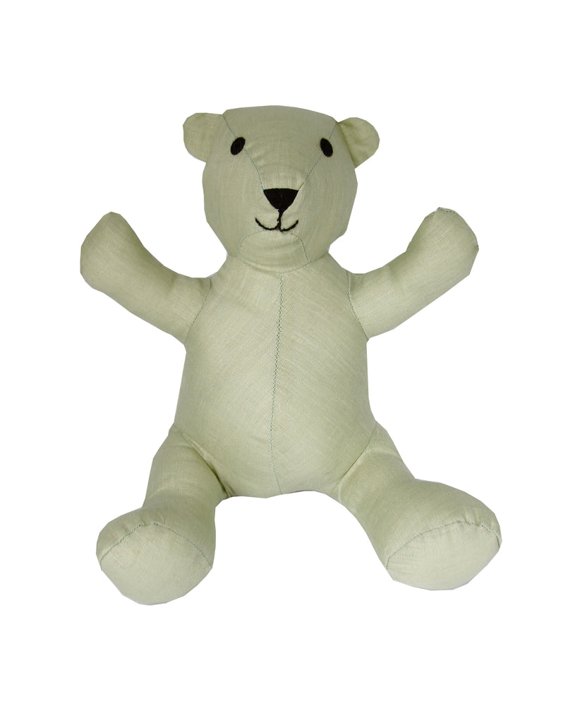 Teddy Bear in Spring Green Linen