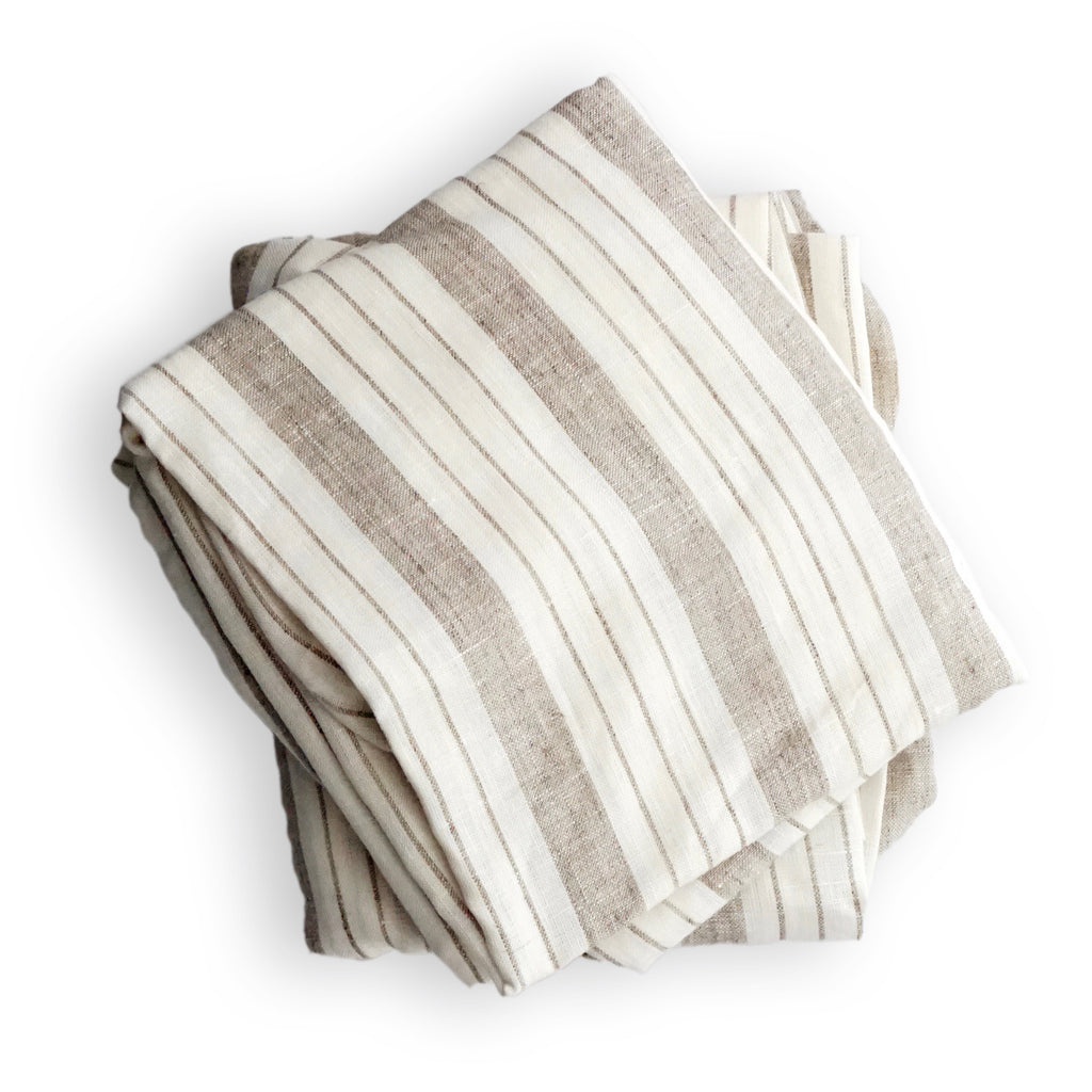 Crib Sheet in Striped Linen
