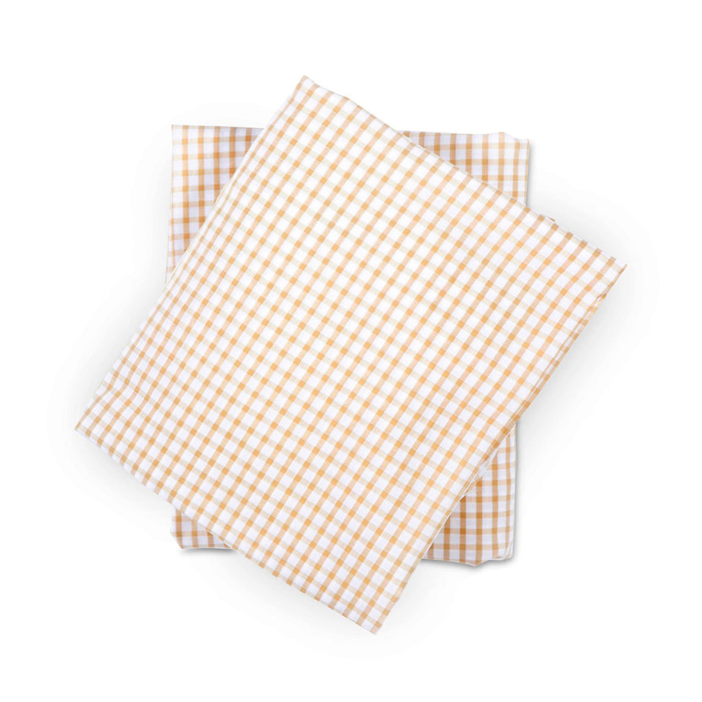 Crib Sheet in Tan Gingham Cotton