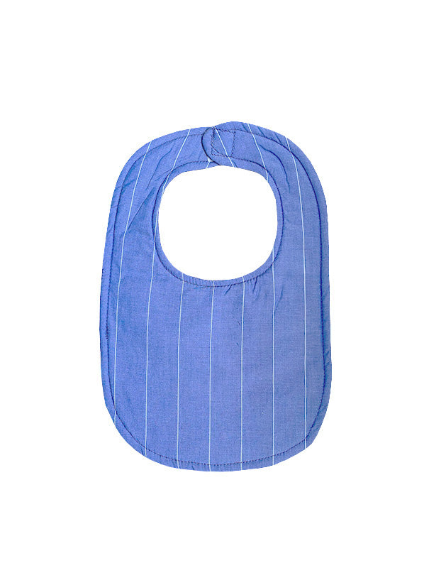 Bib in Blue and White Stripe Cotton