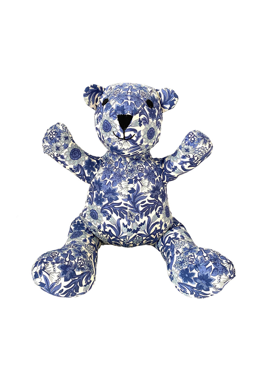 Teddy Bear in Royal Blue Floral