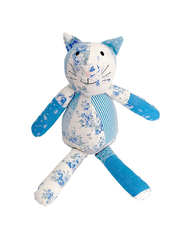 Kitty Cat in Blue Floral Cotton