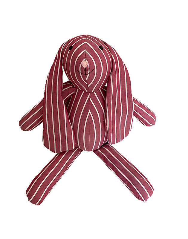 Bunny Rabbit in Burgundy and White Stripe Cotton