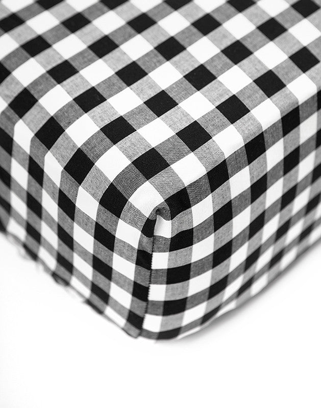 Crib Sheet in Black Gingham Cotton