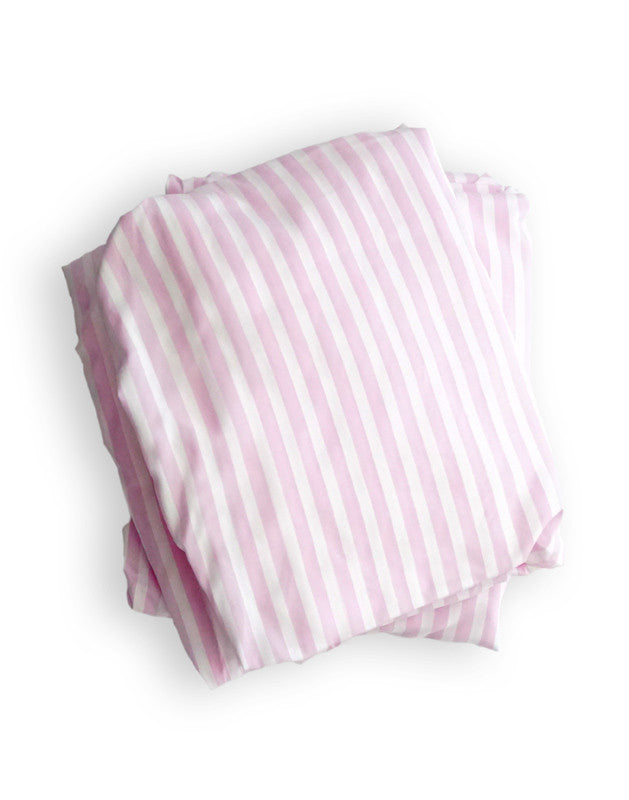 Crib Sheet in Pink and White Stripe Cotton