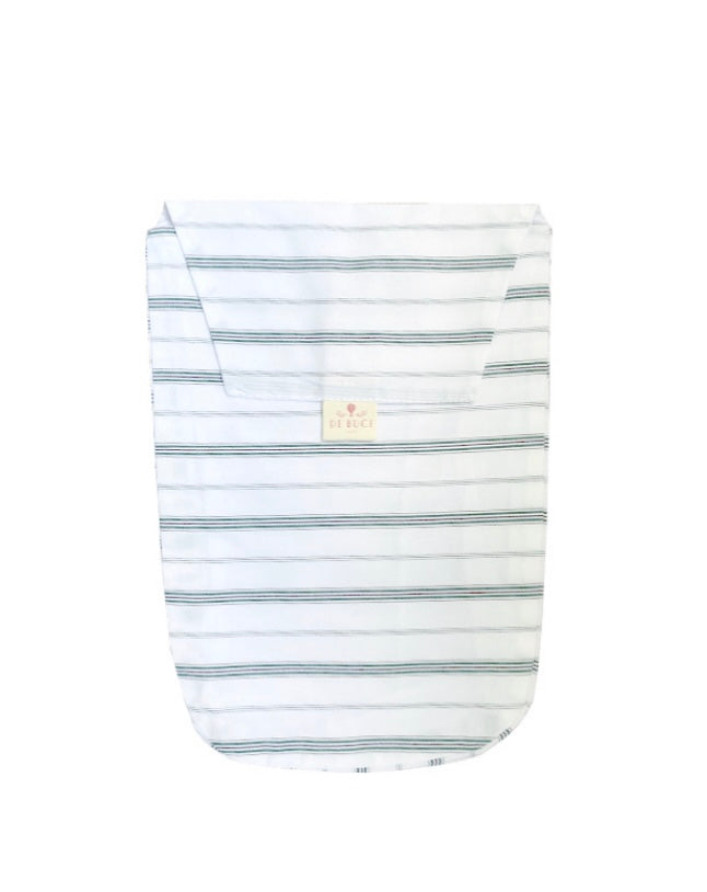 Diaper Pouch in Green and Plum Stripe Cotton