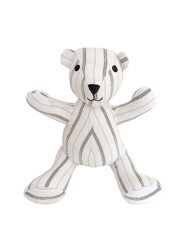 Teddy Bear in Green and Plum Stripe Cotton