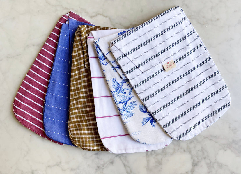 Diaper Pouch in Burgundy and White Stripe Cotton
