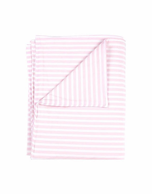 Blanket in Pink and White Stripe Cotton