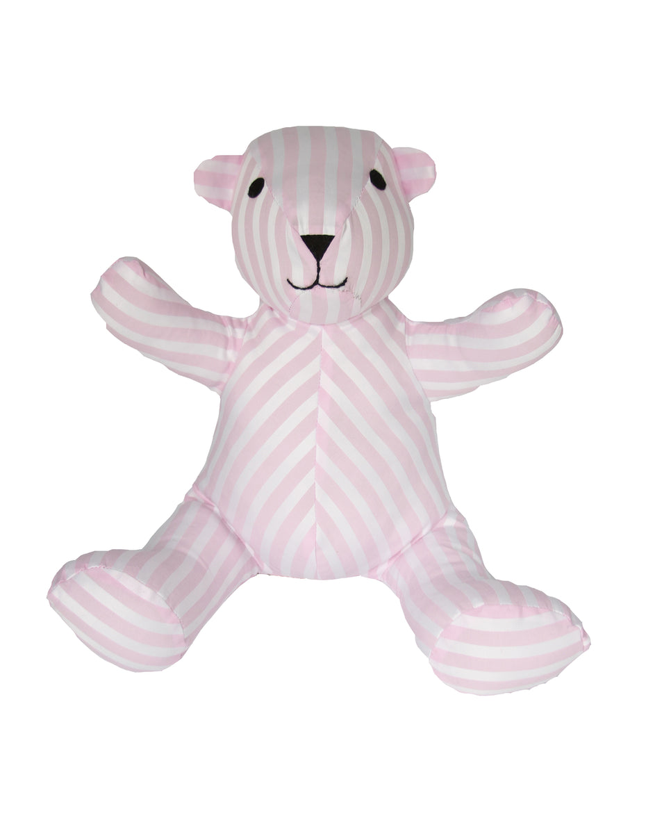 Teddy Bear in Pink and White Stripe Cotton