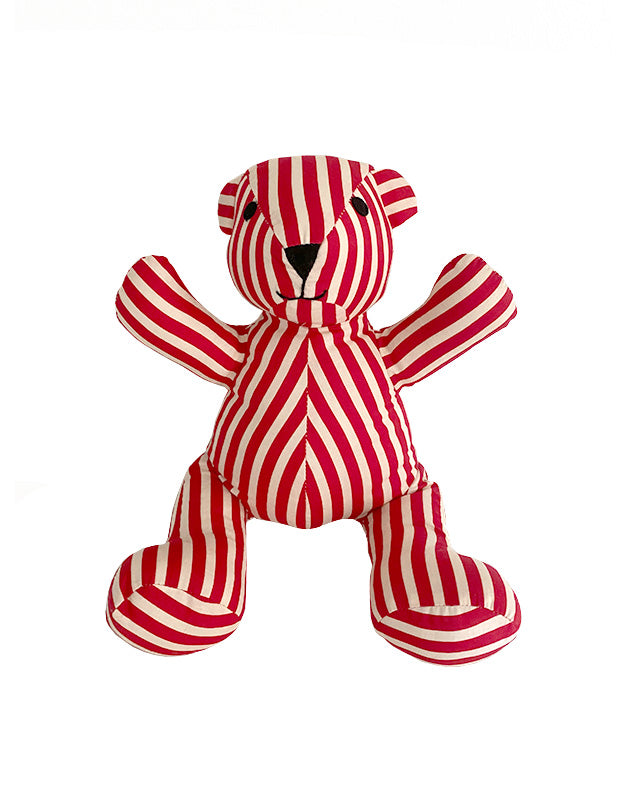 Teddy Bear in Red & White Striped Cotton