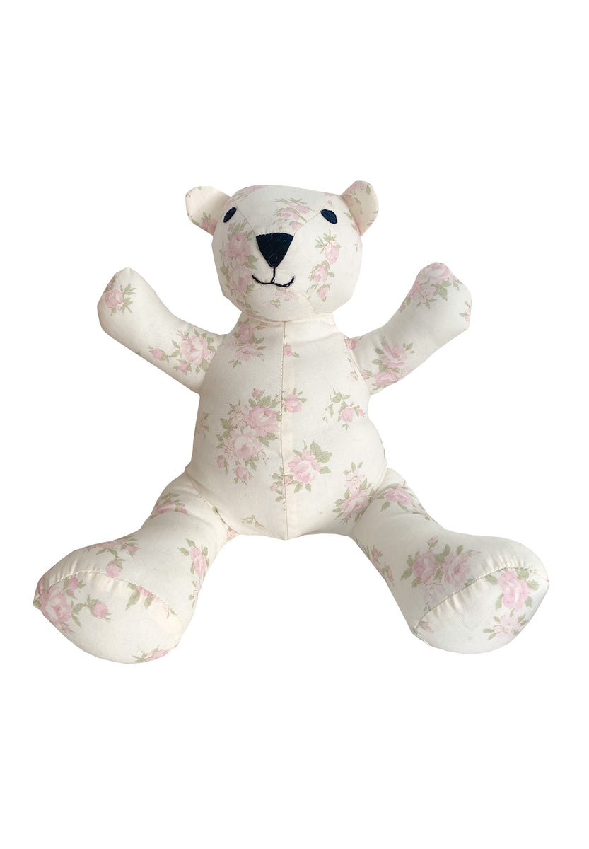 Teddy Bear in Soft Pink Floral Cotton
