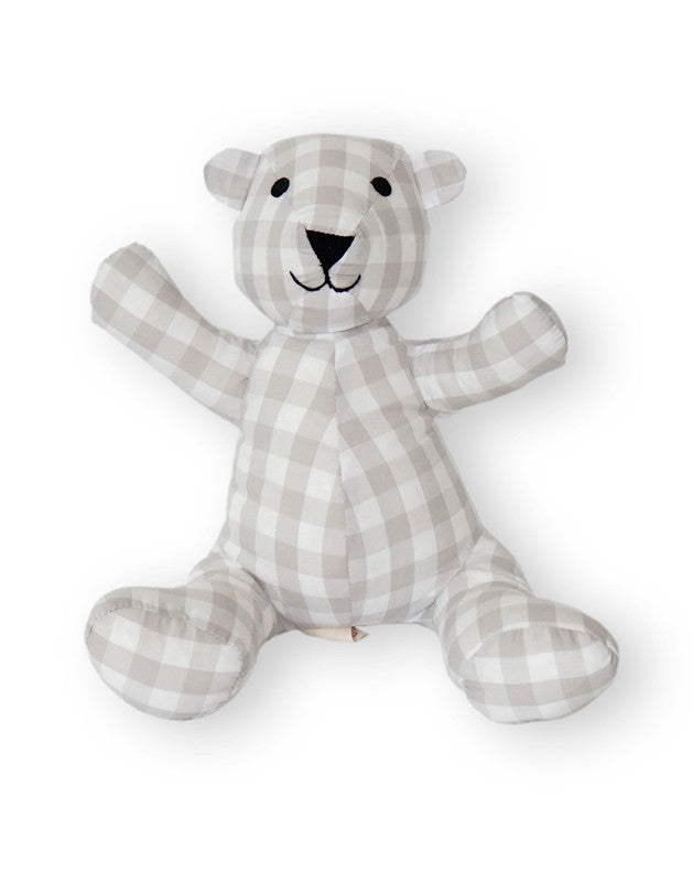 Teddy Bear in Beige Gingham Cotton